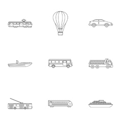 Trip on transport icons set outline style vector image