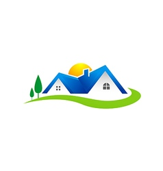 Villa house realty village logo vector