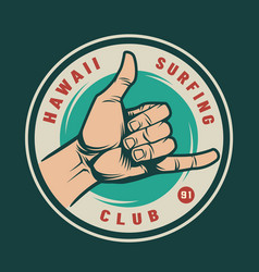 Vintage surfing club logotype vector