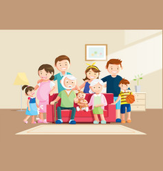 Warm big family portrait with blurred background vector