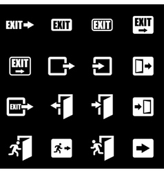 white exit icon set vector image