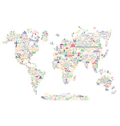 world travel line icons map travel poster with vector image