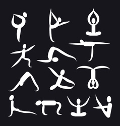 Yoga poses and health care icons fitness symbol vector