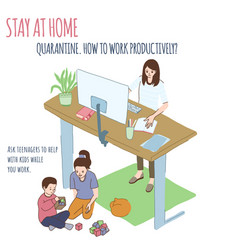 young woman works at home teenager plays with kid vector image