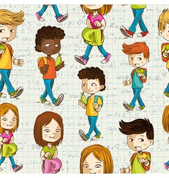 Back to School Cartoon kids education seamless vector image vector image