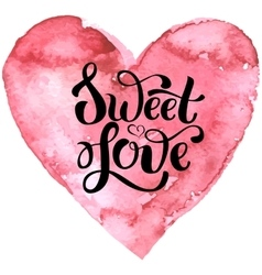 Hand drawn pink heart with lettering vector image vector image