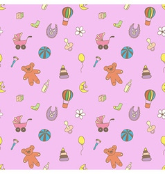 Seamless pattern for fabric with children toys vector image vector image