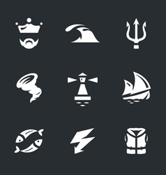 set of neptune icons vector image vector image