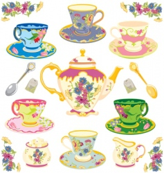 victorian tea set vector image
