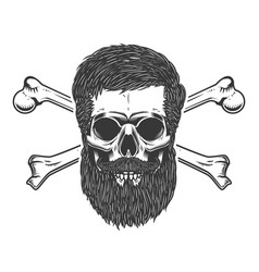 bearded skull with crossbones design element for vector image