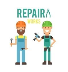 Cartoon workers couple and tools under vector image