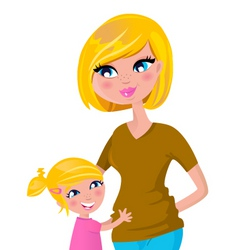 cute blond mother and daughter vector image vector image