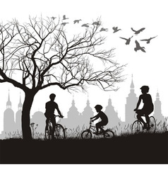 Family on bicycle trip out of town vector image vector image