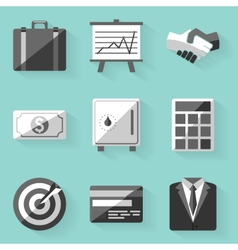 Flat icon set Business White style vector image vector image