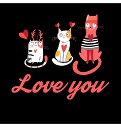 greeting card with cats in love vector image vector image