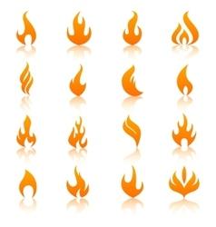 Orange fire flames icon set vector image