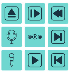 set of 9 audio icons includes skip song extract vector image