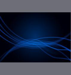 transparent wavy blue lines on black background vector image