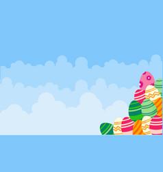 background easter egg and cloud landscape vector image vector image