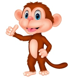 Cute monkey cartoon with thumb up vector image