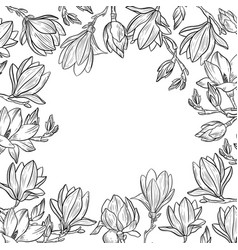 magnolia flowers and blossoming branch frame vector image
