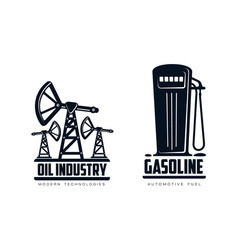 oil derrick pump and fueling station icon vector image vector image