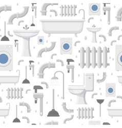 Plumbing service flat icons seamless pattern vector image vector image