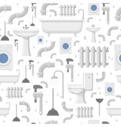 Plumbing service flat icons seamless pattern vector image