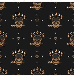 Seamless pattern Art Deco Elegant gold skull vector image