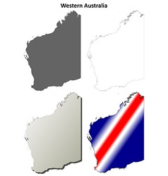 Western Australia outline map set vector image vector image