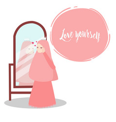 woman wearing veil scarf looking to mirror wearing vector image