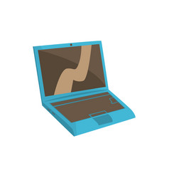 blue modern laptop cartoon vector image