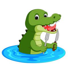 cartoon crocodile preparing to eat vector image
