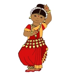 Cute dancing Indian girl vector image