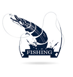 fishing logo monochrome of pike with fishing rod vector image