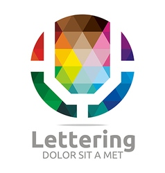 Logo Abstract Lettering U Rainbow Alphabet Icon vector image vector image