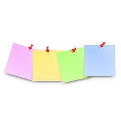 post papers with red pin set blank text place vector image