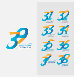 39 year anniversary celebration set template vector