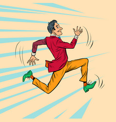 A hipster man in a bright stylish suit runs fast vector