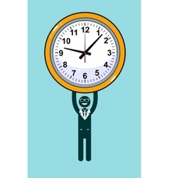 Abstract Businessman holding Time vector