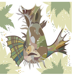abstract with exotic fish and leaves vector image