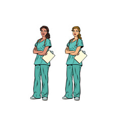 african american and caucasian nurse with vector image