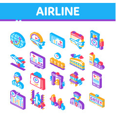 Airline and airport isometric icons set vector