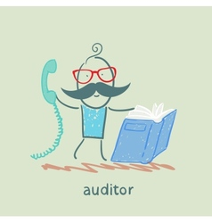 Auditor with the book and phone vector
