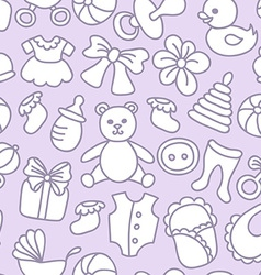 Baby Toys and Elements Seamless Pattern vector image