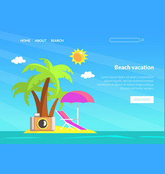 Beach vacation landing page template summer vector