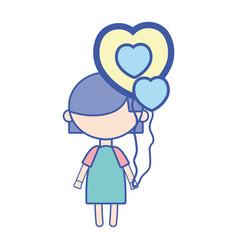 Beauty girl with heart balloons and hairstyle vector