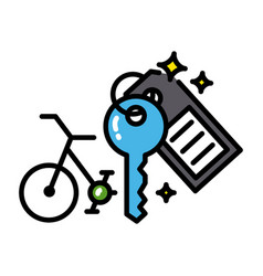 bicycle rental icon colorful black outline vector image