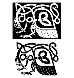 bird and snake in celtic style vector image