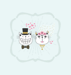 Black line cute happy stylish bride and groom vector